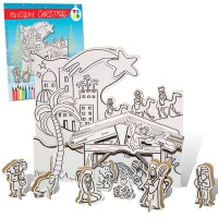 Cardboard Nativity scene to build and colors. Cardboard Toys